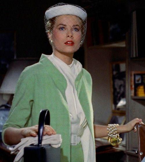 "Grace Kelly in ""Rear Window,"" 1954, wearing green suit shown in above sketch. Costumes by Edith Head."