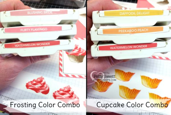 Perfect Stampin Up! color combos for stamping the frosting and cupcakes for the Sweet Cupcake bundle card with frosting! Stampin' UP! ink, stamps, paper and accessories available at pattystamps.com