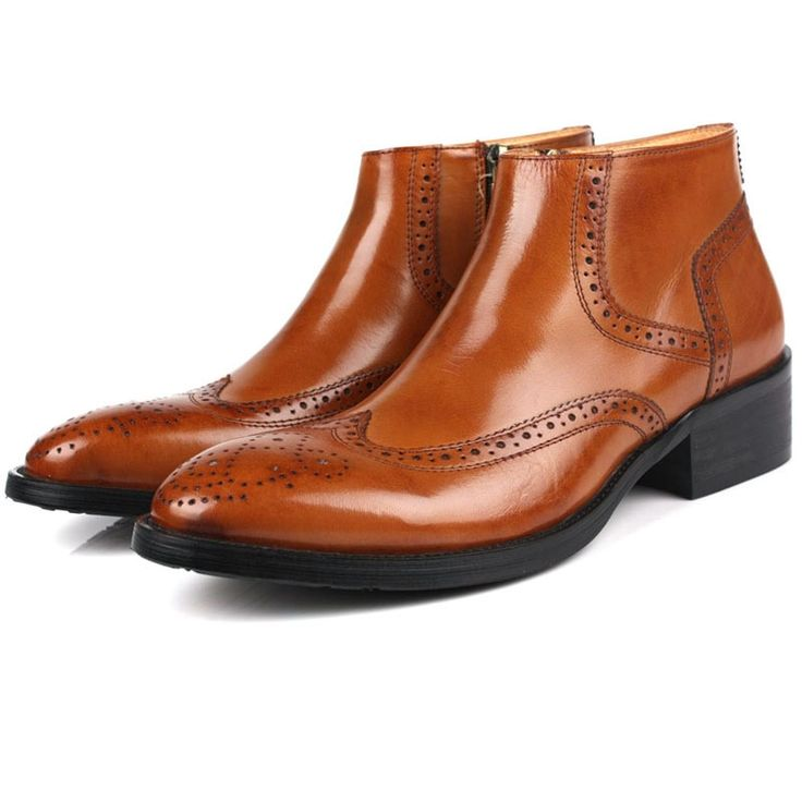146.40$  Buy now - http://alik40.worldwells.pw/go.php?t=32787256856 - Plus Size Men's Chelsea Boots Sale Brogue Genuine Leather Ankle Boots Buckle Cheap Black Handmade Martin boots Pointed Toe