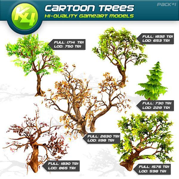 free obj mode cartoon trees - Cartoon Trees... by killst4r