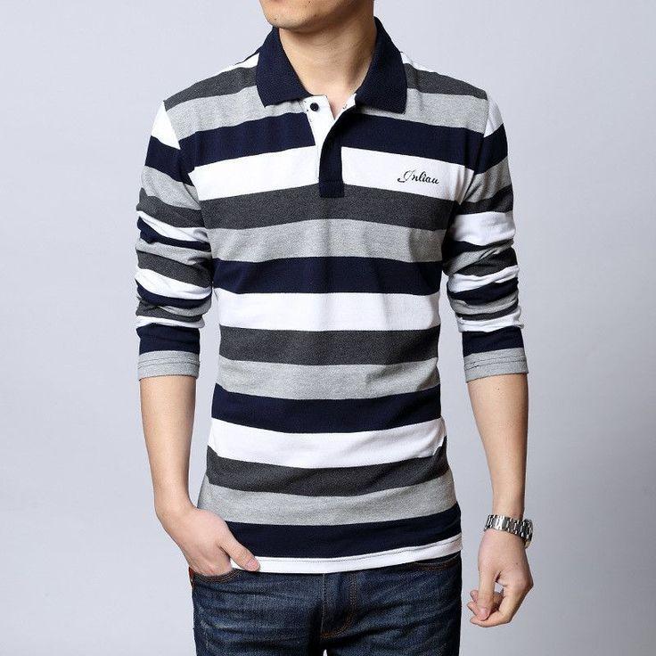 Striped Lapel Jacket Mens Polo T-shirt