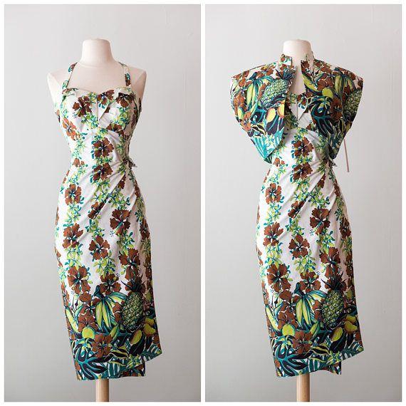 RESERVED  Vintage 1940s Hawaiian Dress / Vintage 40s Luau