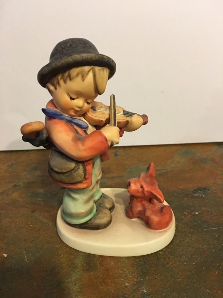 "Vintage Hummel ""PUPPY LOVE"" #1 TMK5 Boy Fiddler with Dog W. Germany 