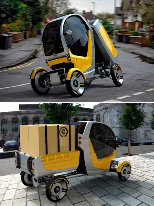 """The battery powered CarGo's innovative design allows the operator or driver to quickly adapt the vehicle to suit both traffic conditions and load volume/type. The CarGo has one seat and provides three standard configurations; compact mode, narrow mode with banking corner action and pick-up truck mode for larger payloads."""