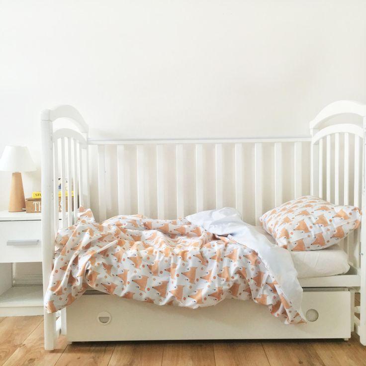 Baby Bedding - Nursery Bedding Set - Orange Foxes Bedding - Baby Bedding Crib - Unique Bed Clothing - Handmade Bedding Set - Red And White by KarambaKids on Etsy
