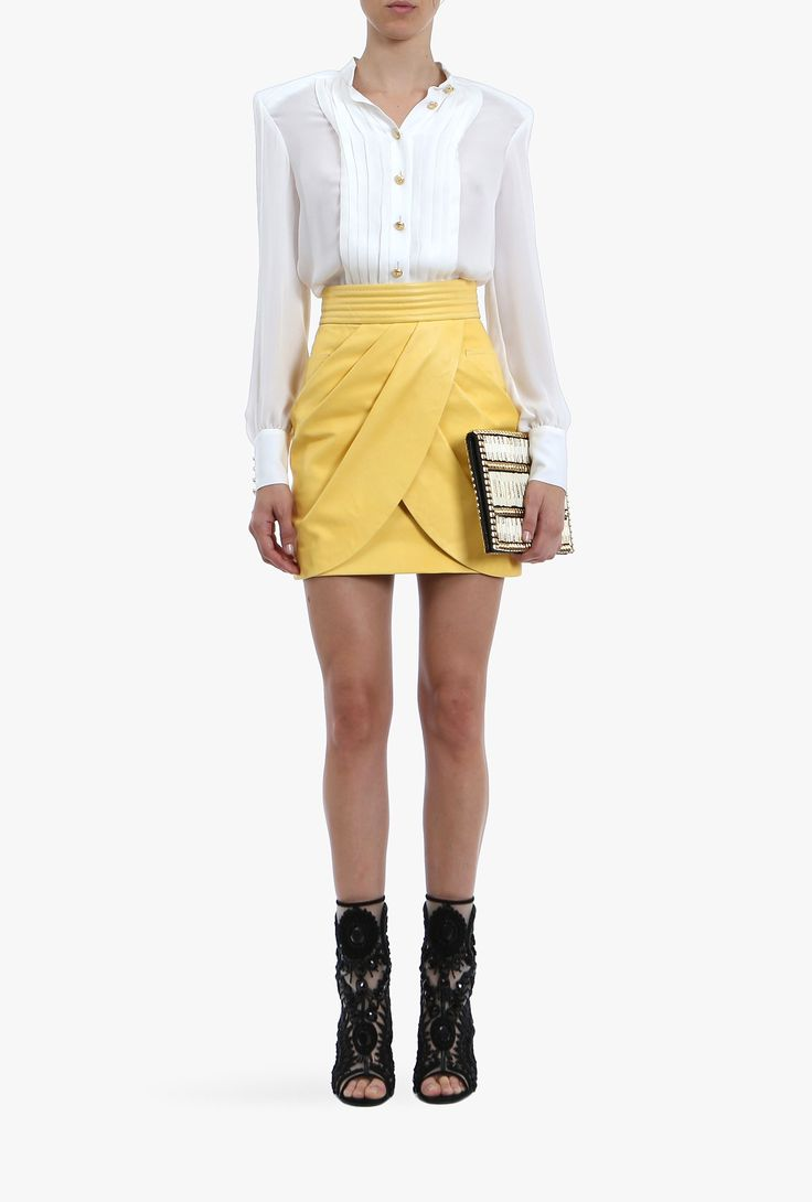 Balmain, Resort 2015, This light and fluid draped leather mini-skirt emphasize your body curves. Wear yours with a white shirt and heels.