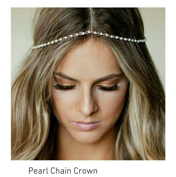 Boho Bridal Crown Boho Bridal Crown embellished with small white round imitation pearls.  This head piece is great for the bride who wants to have the beach waves instead of an up-do! Also an alternative to wearing a traditional veil.   Pearl head chain Minimalist Jewelry Co  Accessories Hair Accessories