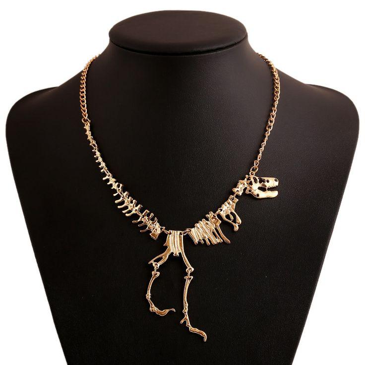 Nueva joyería de la manera gótica tyrannosaurus rex dinosaurio esqueleto colgante, collar de cadena de plata de oro choker collar para las mujeres