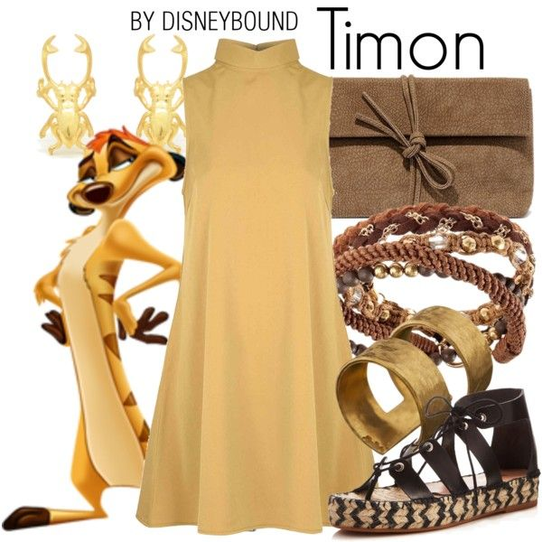 Timon by leslieakay on Polyvore featuring Glamorous, Loeffler Randall, LULUS, ADIN & ROYALE, H&M, disney and disneybound