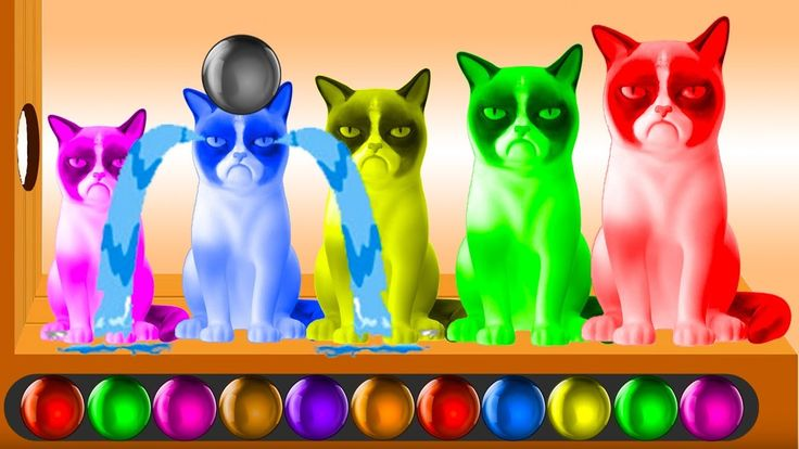 Learn Colors with Funny Cats and Colorful Balls for Kids Children Toddle...