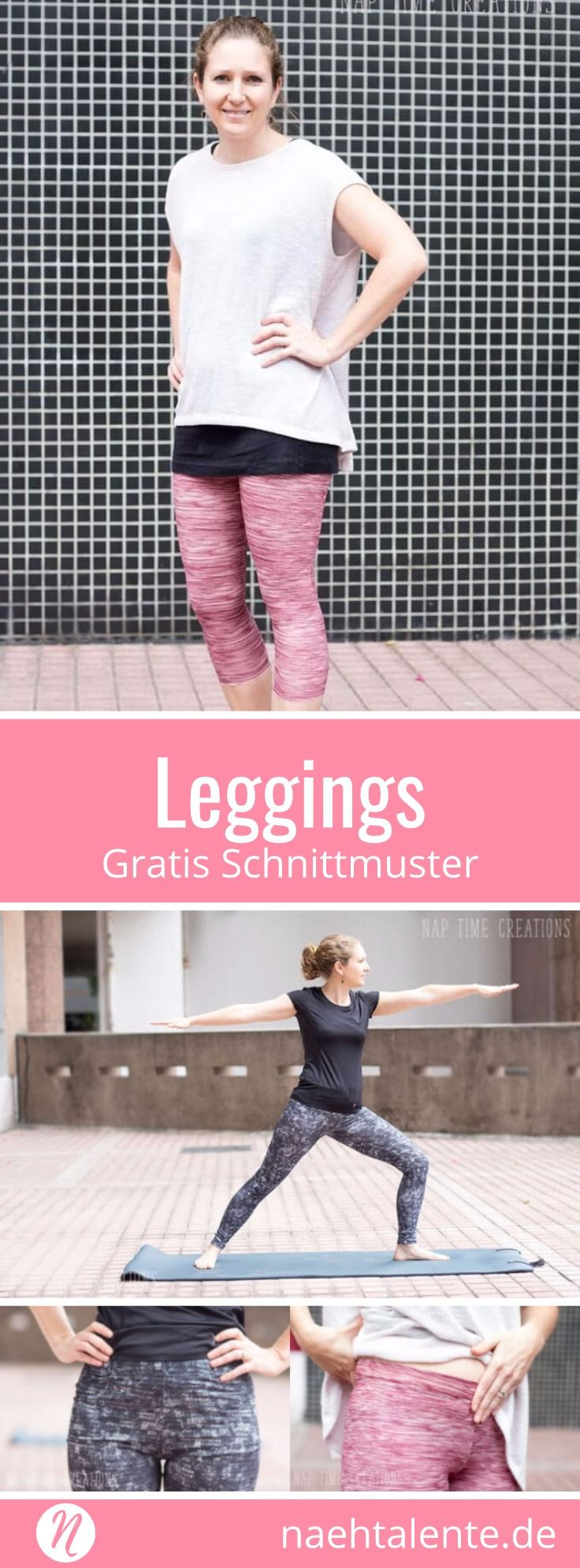 Freebook: Damen-Leggings - Kostenloses Schnittmuster & Nähanleitung ❤ XS - XXL ❤ Nähtalente - Magazin für kostenlose Schnittmuster ❤ Sew your own Leggings with this great free sewing pattern for woman. Size XS - XXL #nähen #freebook #schnittmuster #gratis #nähenmachtglücklich #freesewingpattern #handmade #diy
