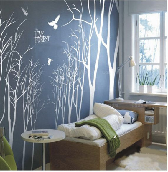 Vinyl Wall Decals Wall Stickers 14 winter trees by walldecals001, $125.00 (like it minus the words)