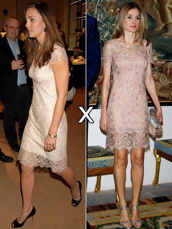 Outro exemplo a favor de Letizia: o vestido do estilista espanhol Felipe Varela, usado com sandálias prateadas, a favorece muito mais do que a versão similar, assinada por Collette Dinnigan, e usada por Kate.