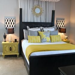 grey and yellow decor