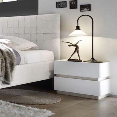 Table de chevet design blanc laqué et couleur bois beige LANNER