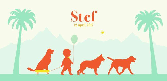 Geboortekaartje jongen - Stef - Pimpelpluis - https://www.facebook.com/pages/Pimpelpluis/188675421305550?ref=hl (# jongen - dieren - boom - palmboom - hond - honden - stoet - ballon - karretje - vrolijk  - retro - vintage - silhouet - lief - origineel)