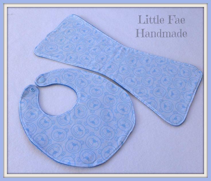 Blue Teddy Bear Baby Bib & Burp Cloth Set 2