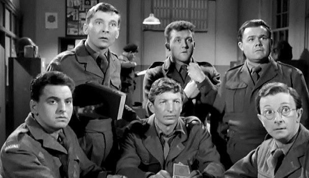 Bob Monkhouse, Kenneth Williams, Terence Longdon, Norman Rossington, Gerald Campion and Charles Hawtrey in Carry On Sergeant. 1958