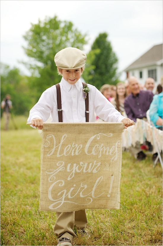 cute! here comes the bride burlap sign