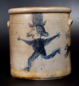 Extremely Unusual Decorated Stoneware Crock with Dog-Chasing-Man Decoration, Ohio, circa 1860 (view1)