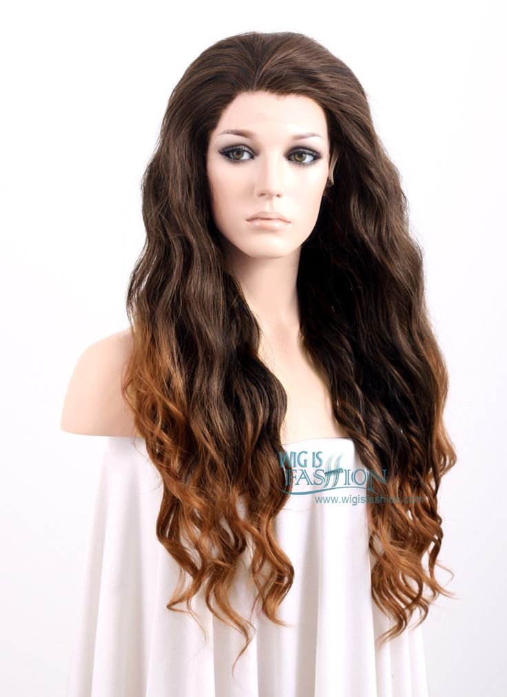 "24"" Long Curly 2 Tone Brown Lace Front Synthetic Fashion Wig LF354 - Wig Is Fashion"