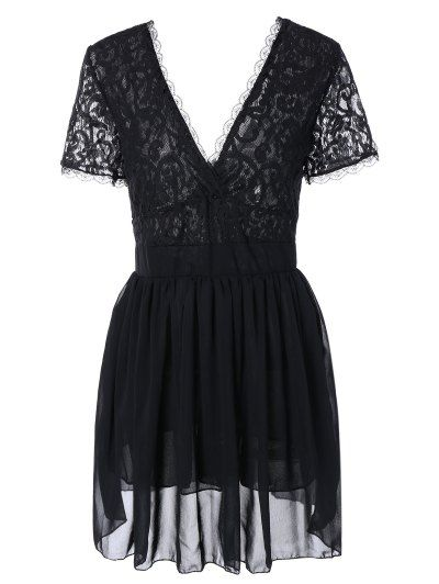 SHARE & Get it FREE | Lace Spliced Plunging Neck Sexy Birthday Dress - BlackFor Fashion Lovers only:80,000+ Items • New Arrivals Daily Join Zaful: Get YOUR $50 NOW!