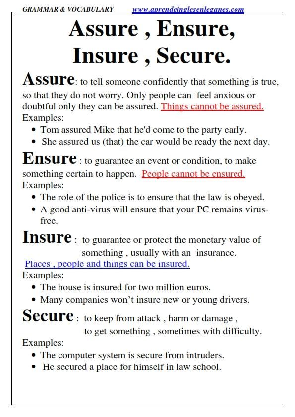 Assure, Ensure, Insure, Secure Multiple choice FCE CAE CPE Cambridge English Exams