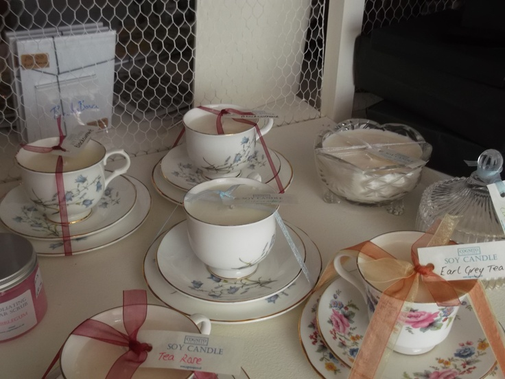 Selection of highly scented Tea Cup Soy Candles https://www.facebook.com/CognitoBathAndBody