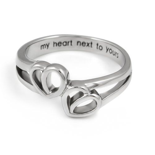 Promise Ring Double Hearts My Heart Hext To Yours Best Gift For Girlfriend Boyfriend Stainless Steel