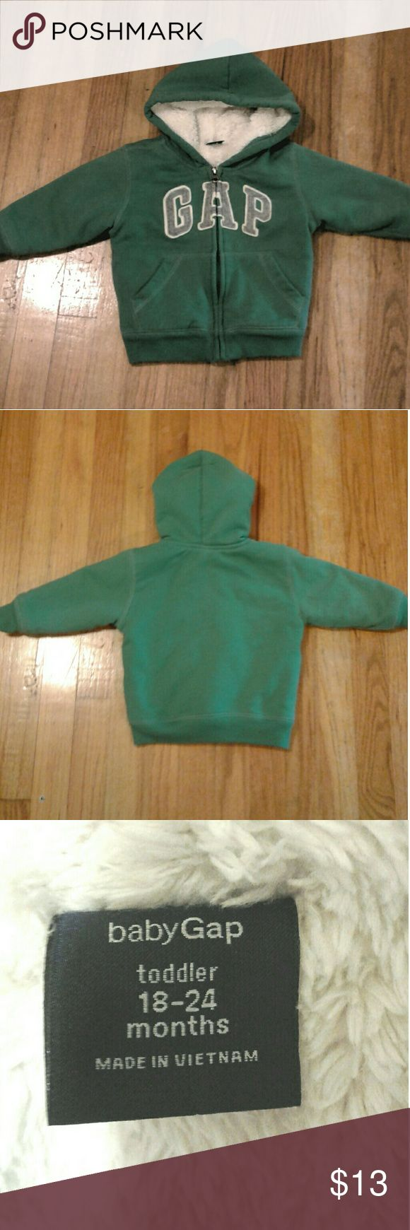 Nice Gap  jacket  like new!! Baby Gap full front zip up jacket with hood extremely soft and  warm fuzzy lining on   inside  (pic #4). Very nice  green color size  18-24months/ unisex  . Like New condition!!! GAP Jackets & Coats