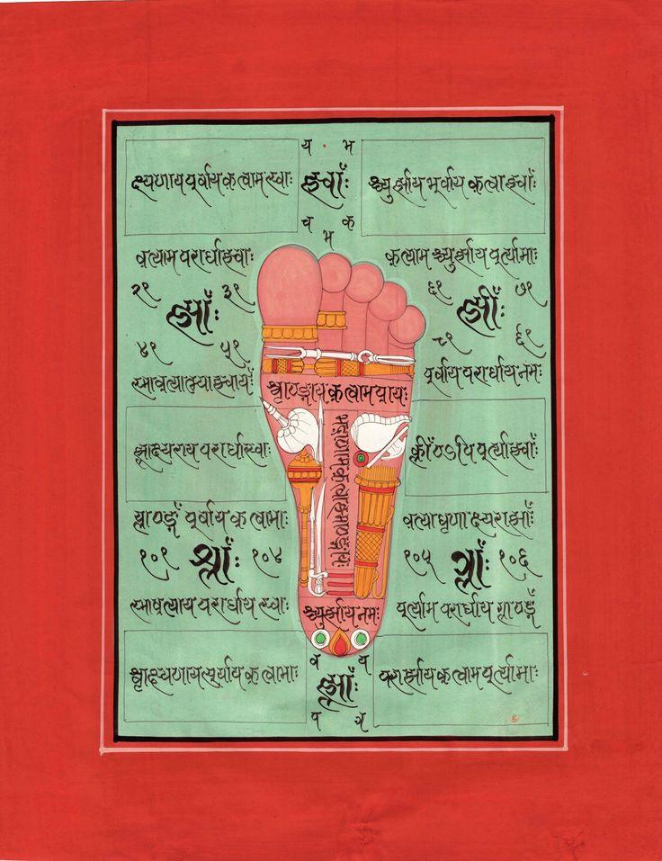 Footprint of Vishnu Pada Foot Tantrik Painting Indian Hindu Handmade Tantric Art