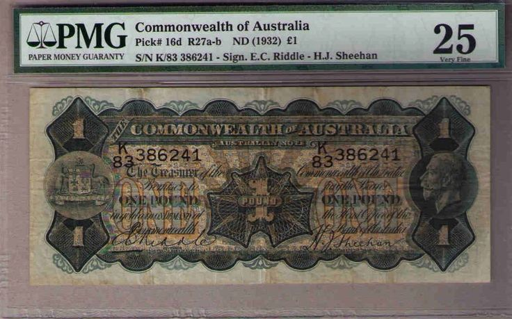 Commonwealth of Australia Pick 16d R27-1 pound, RIDDLE SHEEHAN PMG 25. VF