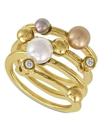 Majorica Endless Pearl Ring, 18k Gold over Sterling Silver Multicolor Organic Man Made Pearl Ring - All Fashion Jewelry - Jewelry & Watches - Macys