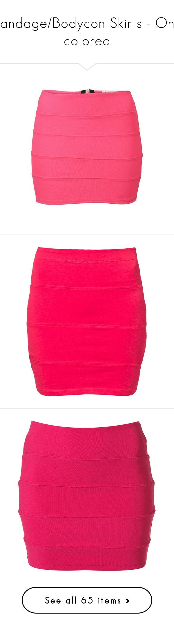 """Bandage/Bodycon Skirts - One colored"" by lulucosby ❤ liked on Polyvore featuring skirts, mini skirts, pink skirt, bodycon mini skirt, body con mini skirt, ribbed skirt, neon pink mini skirt, bottoms, saias and faldas"