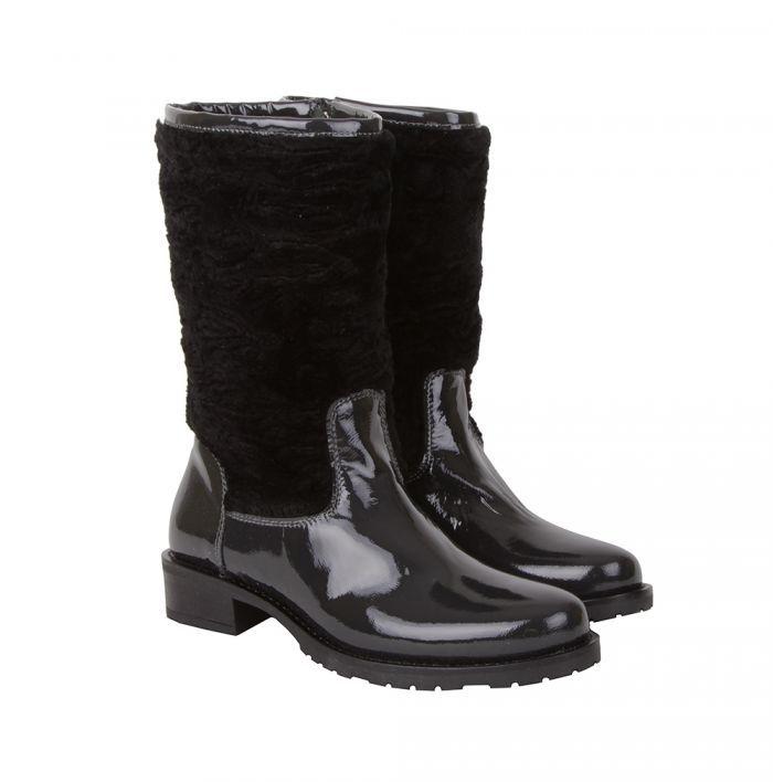 Alessandro Черные кожаные сапоги с необычным голенищем от бренда Alessandro