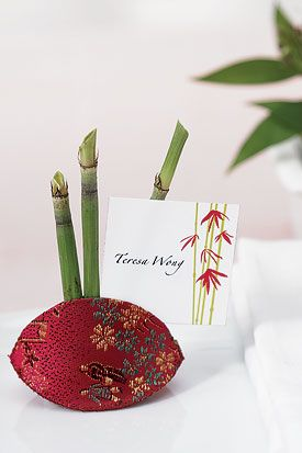 """Asian Brocade """"Snap Purse""""/Place Card Holders - Cranberry"""