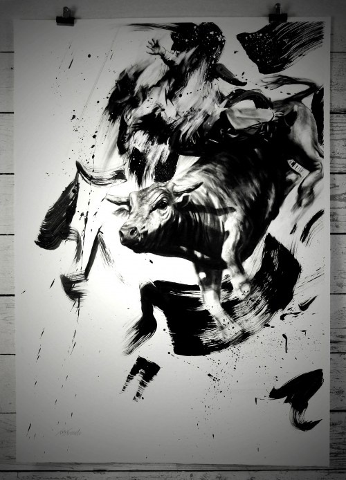Cowboy Balance 9 - Original Drawings  Tom French