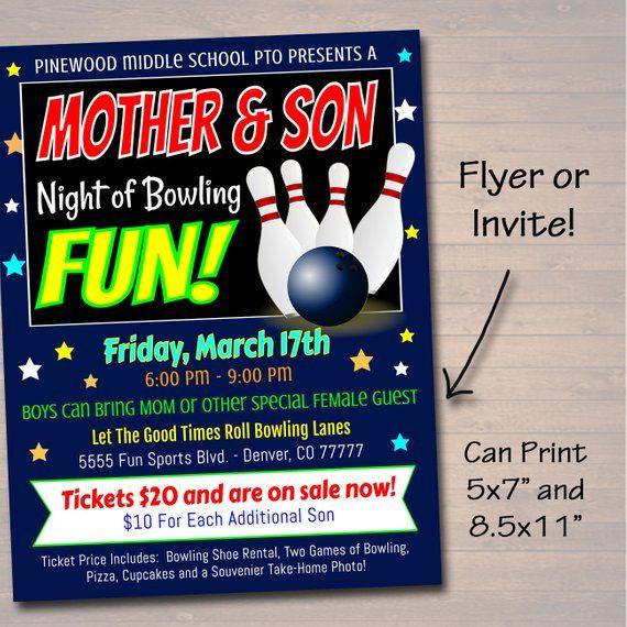 Editable Mother Son Bowling Flyer Ticket Set School Dance Etsy Fun Fundraisers School Fundraisers Parents As Teachers