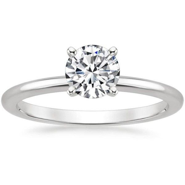 18K White Gold Four-Prong Petite Comfort Fit Bridal Set (10 095 ZAR) ❤ liked on Polyvore featuring jewelry, rings, 18 karat white gold ring, bridal jewellery, white gold rings, 18k white gold ring and 18k white gold jewelry