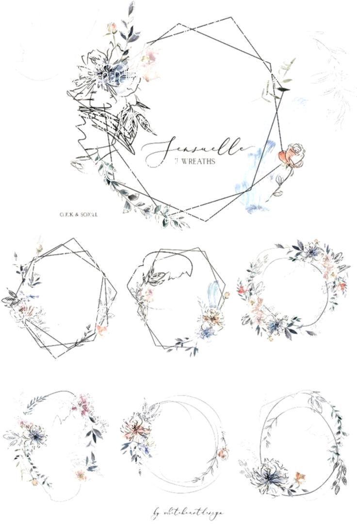 Geometrische Blumenkranz Sinnliche Aquarell Hochzeit Flowers