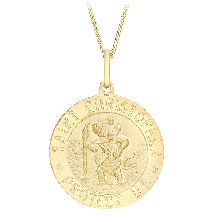 Carissima Gold 9 ct Yellow Gold St Christopher Pendant on Curb Chain Necklace