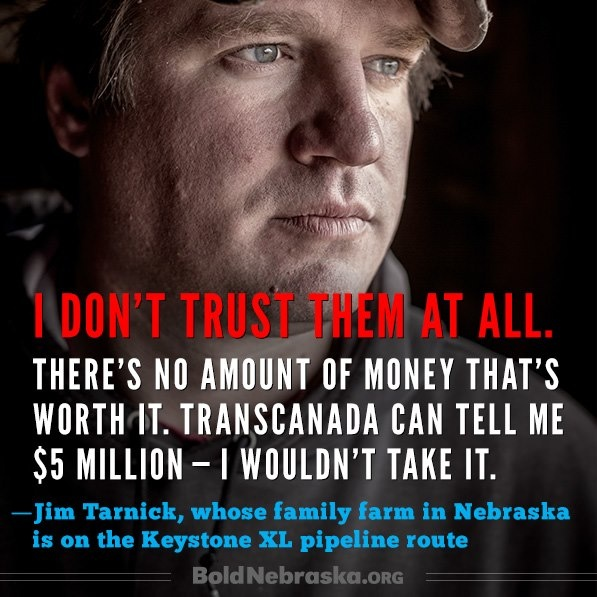 Wonderful to see Americans with Conviction & Complete Lack Of Greed. This man is to be commended for his decision. TY Pres. Obama. No Pipeline.