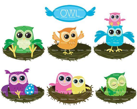 Eulen-Clipart, digitale Eule Clipart, Liebe Vögel, Eulen-ClipArt Owl Graphics, baby Eule Clipart, Eule grün - persönlichen und kommerziellen...