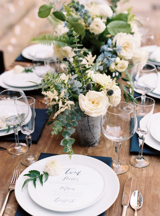 Navy and gray wedding table decor: http://www.stylemepretty.com/2017/03/06/dreamy-new-orleans-inspiration-shoot/ Photography: Austin Gros - http://austingros.com/