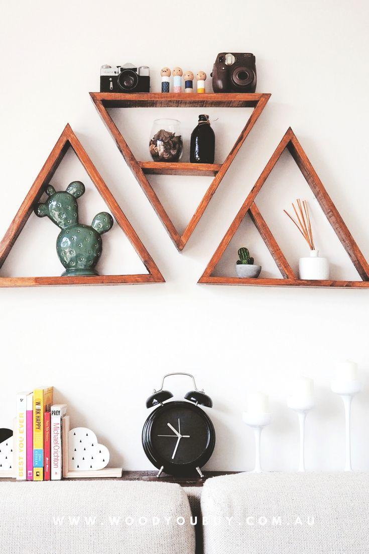 Set Of 3 Triangle Shelves Home Decor Triangle Shelf Large