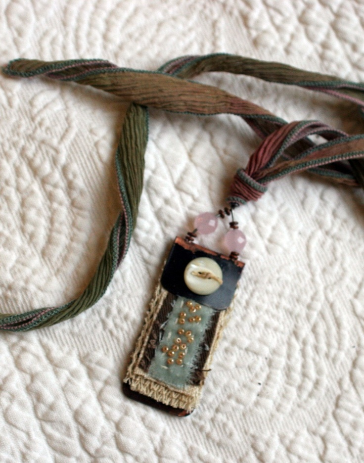 Art Quilt Pendant-need this to hold my badge!