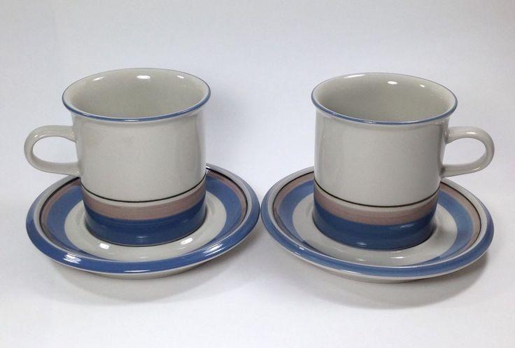 2 Sets Arabia of Finland Uhtua Cups & Saucers Coffee Tea Mugs Vtg Blue Tan Stripes #ArabiaofFinlandUhtua