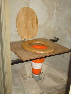 A novel idea for construction site toilet. lol