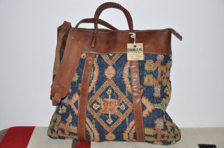 Ralph Lauren Rrl Indian Blanket Rug Cotton Leather Tote