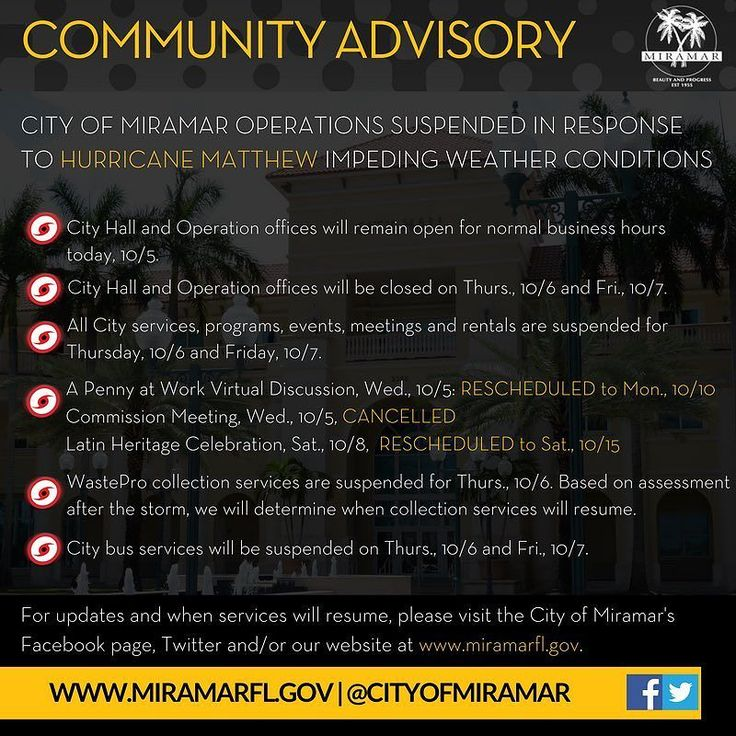#HurricaneMatthew Community Advisory: City of Miramar operations suspended in response to Hurricane Matthew impeding weather conditions.  City Hall and Operation offices will remain open for normal business hours today 10/5. City Hall and Operation offices will be closed on Thursday 10/6 and Friday 10/7. All City services programs events meetings and rentals are suspended for Thursday 10/6 and Friday 10/7. A Penny at Work Virtual Discussion Wednesday 10/5 RESCHEDULED to Monday 10/10…